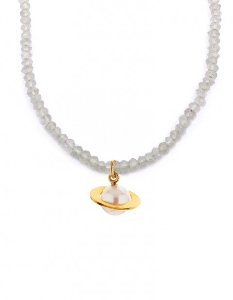 Astral small planet necklace with moonstone AS00-GP/WP/MS