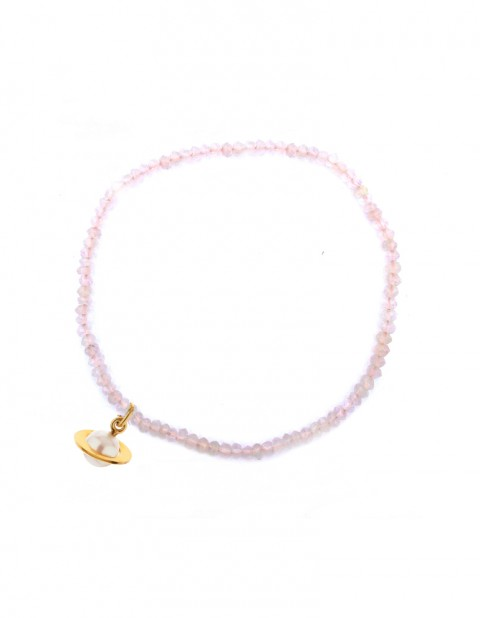 Astral small planet bracelet with rose quartz AS03-GP/WP/RQ