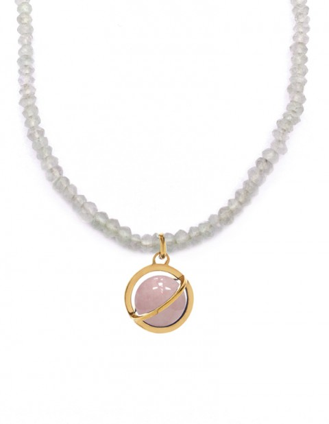 Astral medium orbit necklace with rose quartz and moonstone AS19-GP/RQ/MS