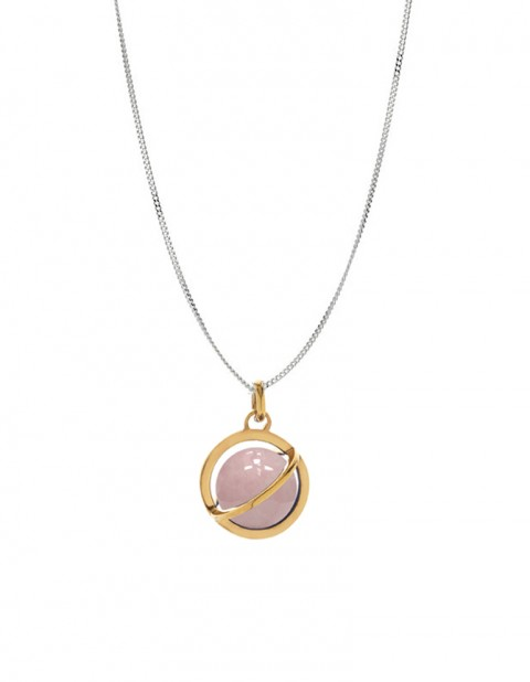 Astral medium orbit necklace with rose quartz AS19-GP/RQ/S