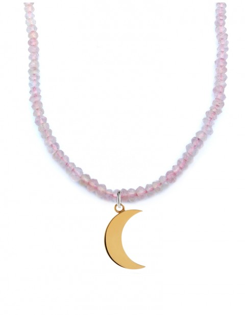 Astral half moon necklace with rose quartz AS42-GP/RQ