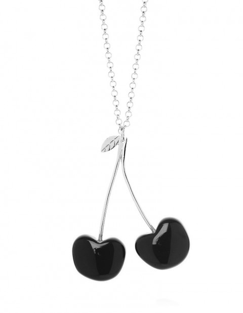 Double cherry necklace C03 Black