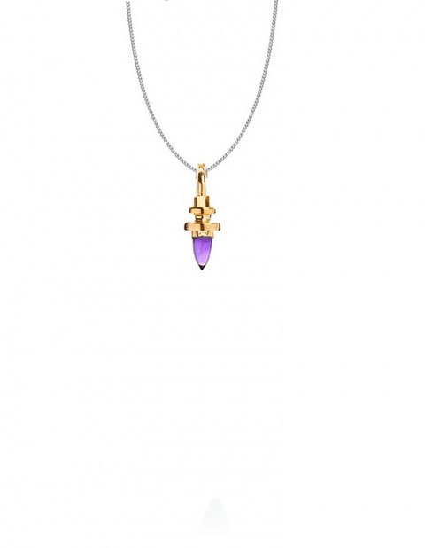 mini totem necklace gold amthyst silver PW30/1-GP/AM/S