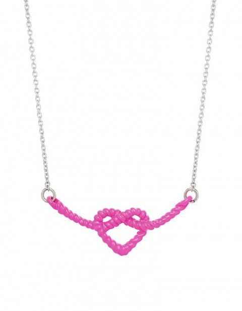 Fuchsia Heart Knot Necklace on oxidised silver chain LL01-F/S