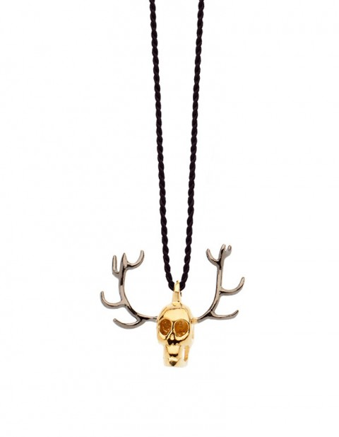 Gold plated silver skull antler necklace on thread SS28