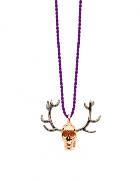 Rose gold plated skull antler necklace on thread SS28