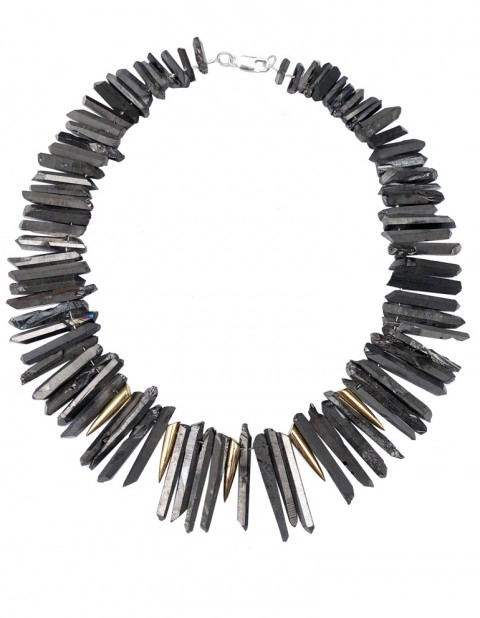 Charcoal tusk necklace TK33-CHCQ/GP