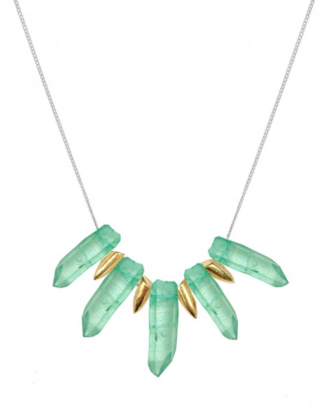 Green tusk necklace TK24-GQ/GP/S