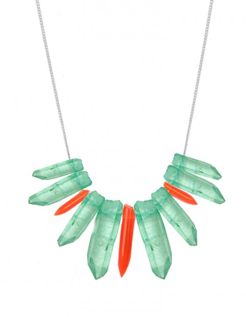 Green and neon tusk necklace TK27-GQ/RPX/S