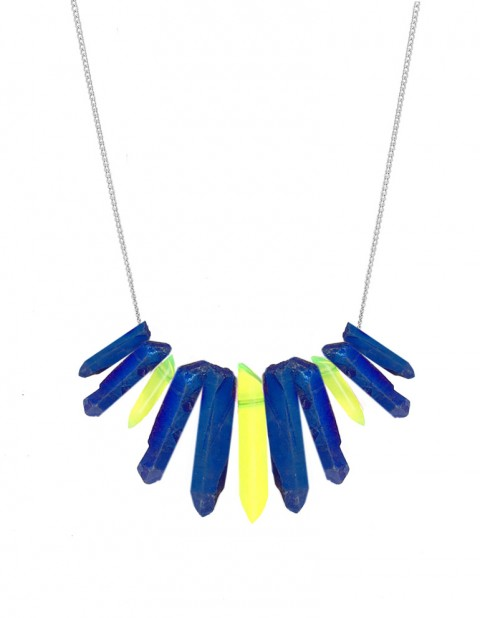 Metallic blue and neon tusk necklace TK27-MBQ-YPX-S