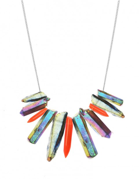 Rainbow and neon tusk necklace TK27-RBQ-RPX-S