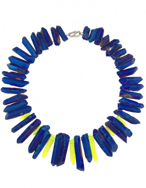 Metallic blue and neon paradise necklace TK32-MBQ-YPX
