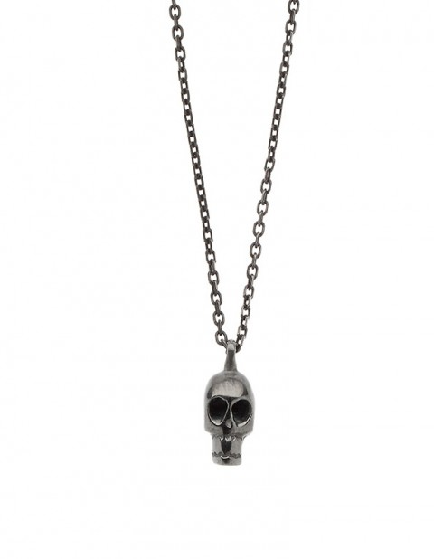 Black rhodium skull necklace SS02-RD/OX