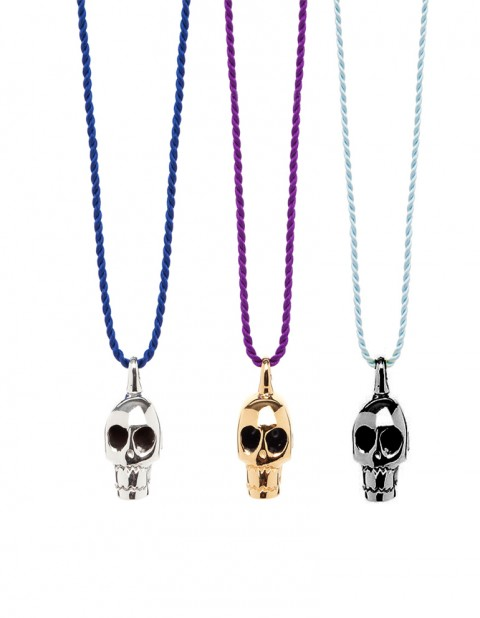 silver black rhodium gold skull necklaces on silk thread SS08