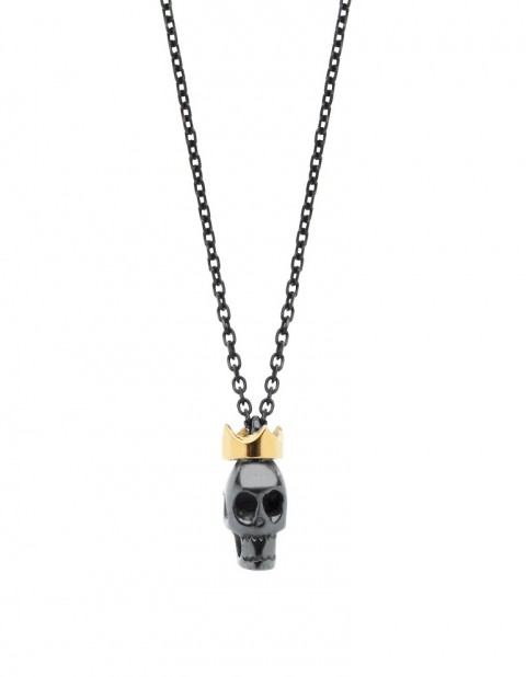 Black rhodium skull with crown necklace on oxidised silver chain SS22-RD/OX
