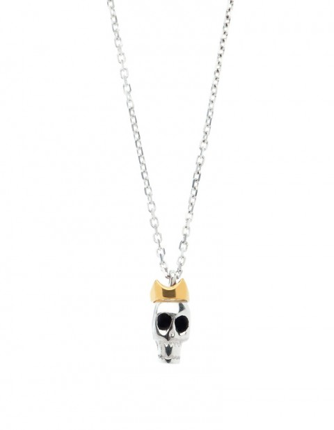 Silver skull with crown necklace on silver chain SS22-S/S