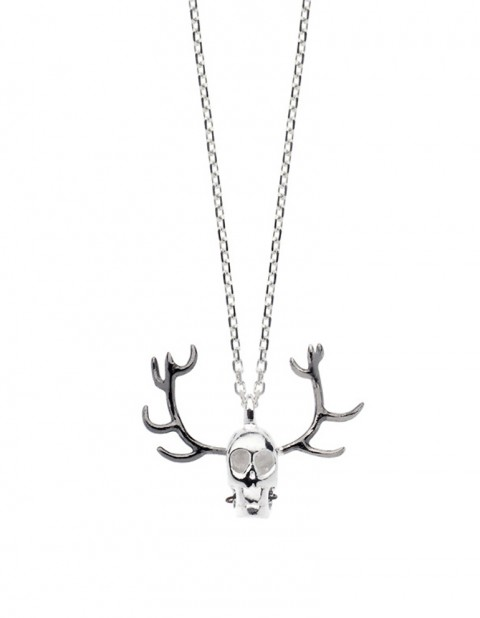 Silver skull antler necklace on silver chain SS28-S/S