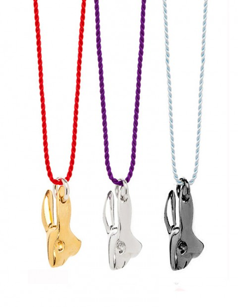 Rabbit necklaces on silk thread gold silver black rhodium R08
