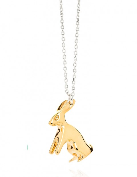 Big gold rabbit necklace R11