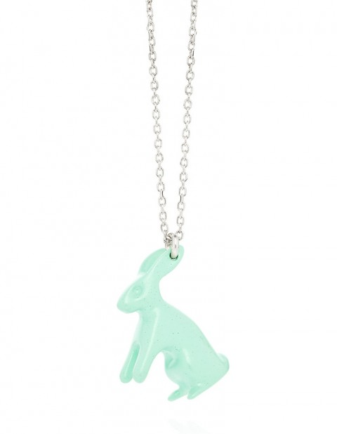 Big aqua rabbit necklace R20-A