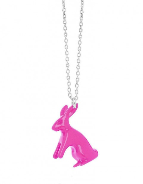 Big fuchsia rabbit necklace R20-F