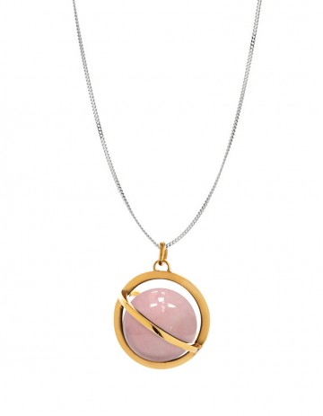 Astral large orbit necklace with rose quartz AS20