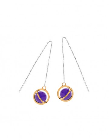 Astral long orbit earrings with amethyst AS23L-GP/AM/S