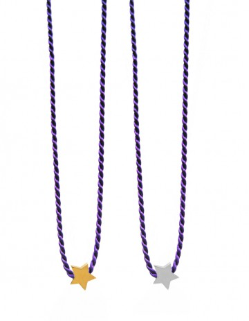 ASTRAL Star necklace on purple silk thread AS30