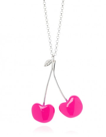 Double Cherry Necklace C03 Pink