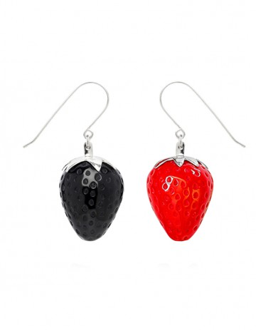Strawberry Earring ST00 Red and black