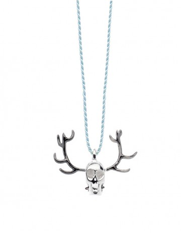 Silver skull antler necklace on thread SS28