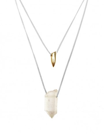 Tusk and white quartz double necklace TK22-WHQ/GP/S