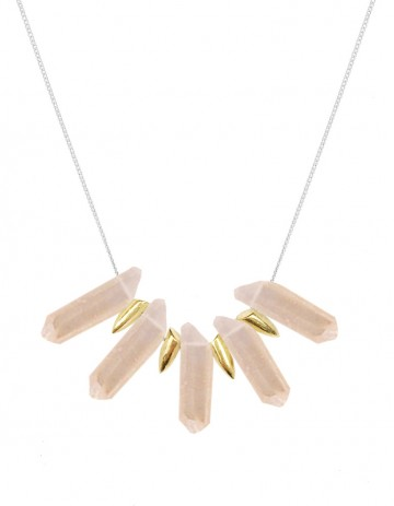 Peach tusk necklace TK24-PCHQ/GP-S