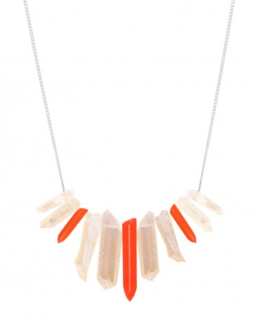 Peach and neon tusk necklace TK27-PCHQ/RPX/S