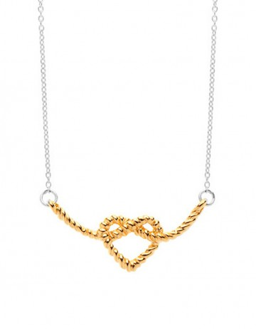 gold Heart Knot Necklace on silver chain LL01-GP/S