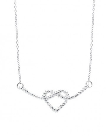 silver Heart Knot Necklace on silver chain LL01-S/S