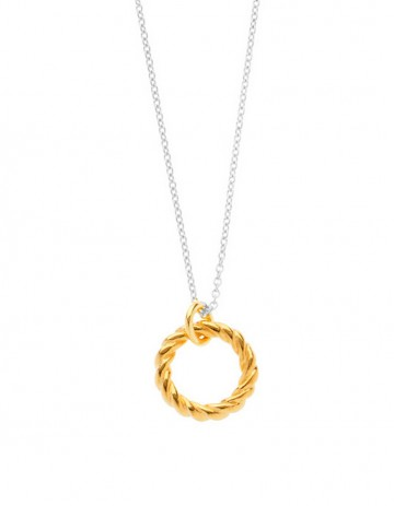 gold Rope Hoop Necklace on silver chain LL04-GP/S