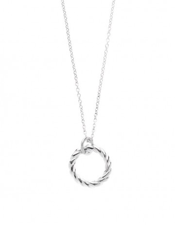 silver Rope Hoop Necklace on silver chain LL04-S/S