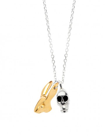 Silver Skull & Gold rabbit necklace on silver chain R27