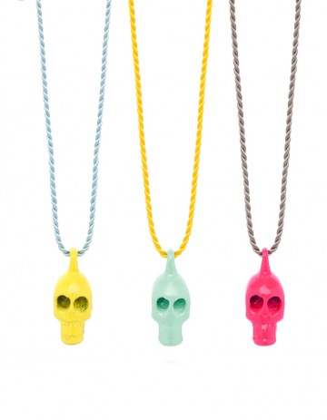 yellow aqua fluoro pink skull necklaces on silk thread SS08