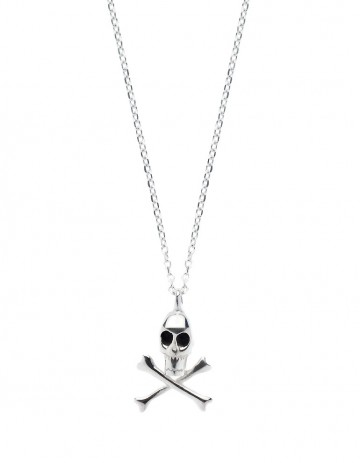 silver skull and crossbones necklace on silver chain SS24-S/S