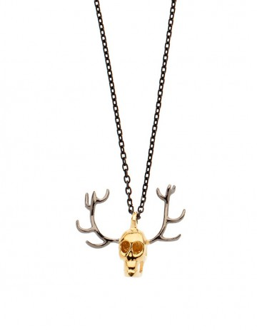gold skull antler necklace on oxdised silver chain SS28-GP/OX